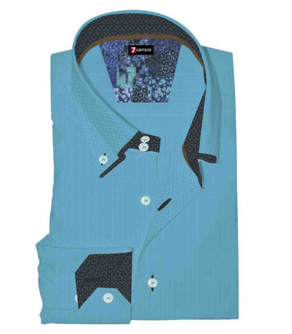 2Buttons Down Double Collar Slim Man Shirt Solid Oxford