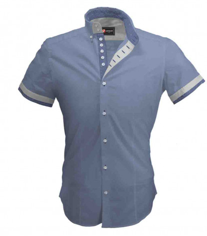 2buttons button-down 7 squared buttons man shirt with short sleeves