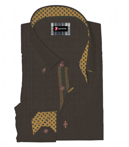 2 Buttons Button Down Slim Man Shirt Pattern Woven Brown/Black