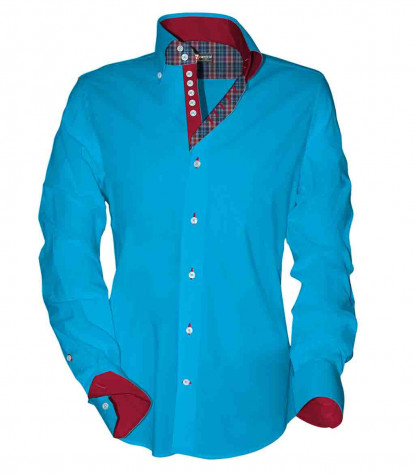 2 Buttons BDWN 7 Buttons Slim Man Shirt Cotton/Polyester Turquoise