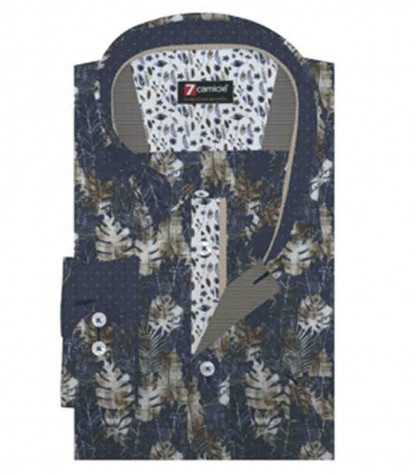 1 Button Soft Collar Man Shirt with Pocket Printed Linen and Cotton