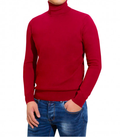 Man Rollkragenpullover Plain Red