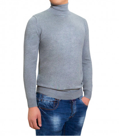 Man Turtleneck Sweater Plain Light Gray