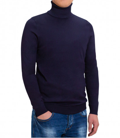 Man Turtleneck Sweater Plain Dark Blue