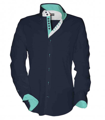 2 buttons button-down 7 buttons kid shirt Popeline Plain Blu