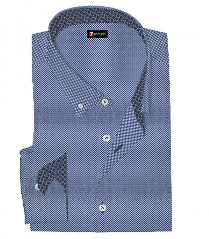 1 Button Button Down Slim Man Shirt Pattern Woven Blue\White