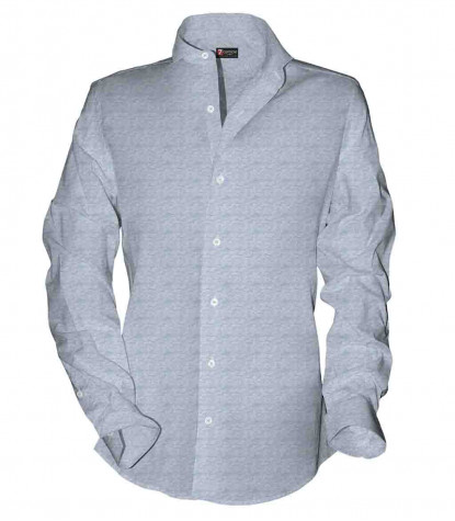 1 Button French Collar Slim Man Shirt Fancy Jacquard