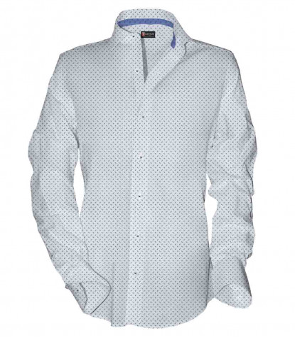1 button french collar slim man shirt Printed Oxford Whitelue
