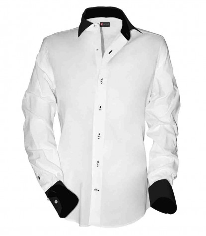 1 button french collar slim man shirt Not stretched Cotton Satin Plain