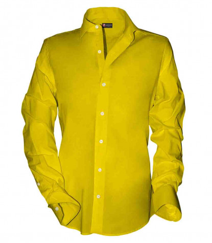 1 button french collar slim man shirt Popeline Stretch Plain Yellow