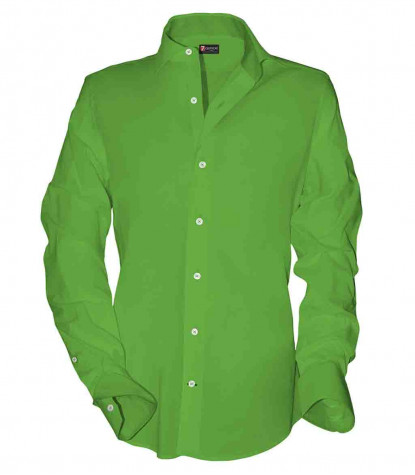 1 Button French Collar Slim Man Shirt Popeline Plain Green