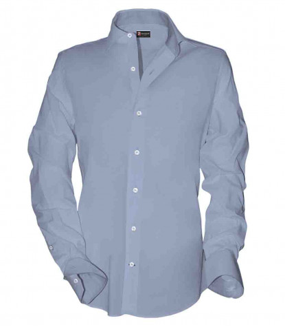 1 Button French Collar Slim Man Shirt Popeline Light Blue