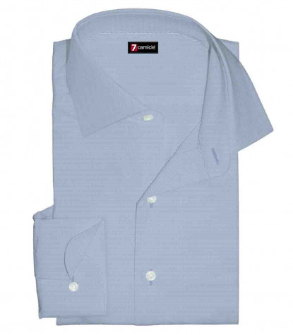 1 Button French Collar Slim Man Shirt No iron oxford Light Blue