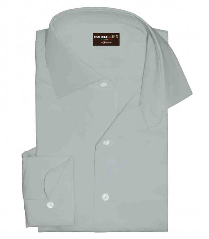 1 Button French Collar Slim Man Shirt Solid Cotton Polyester Light Grey