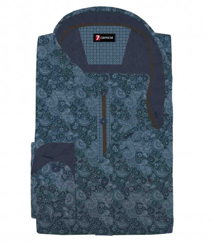 1 Button Italian Collar Slim Man Shirt Printed Chambray Blue\Lite Blue