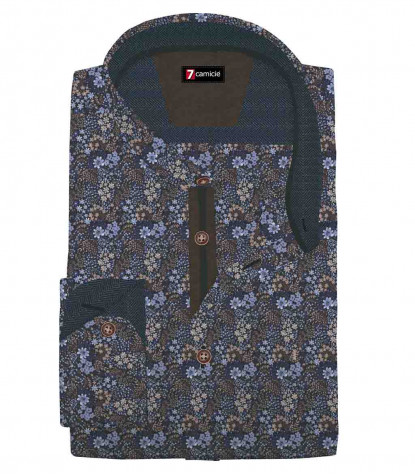 1 Button Italian Collar Slim Man Shirt Printed Popeline Lilac\Violet