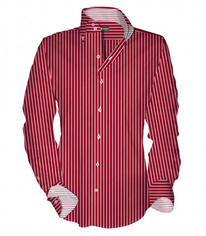2buttons button-down slim man shirt Thin Line Satin Red\White