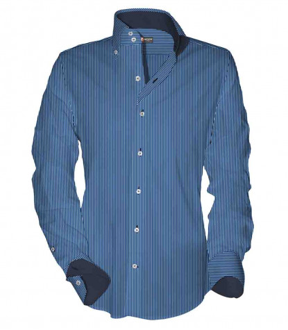2buttons button-down slim man shirt Striped Woven* Blue\White