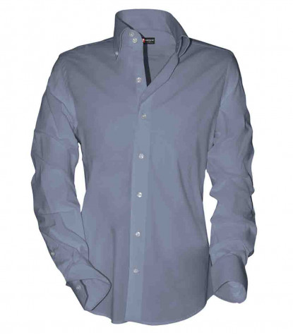 2 buttons button-down slim man shirt Oxford Plain Light Blue