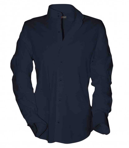 2 buttons french collar slim man shirt Not stretched Cotton Satin Plain