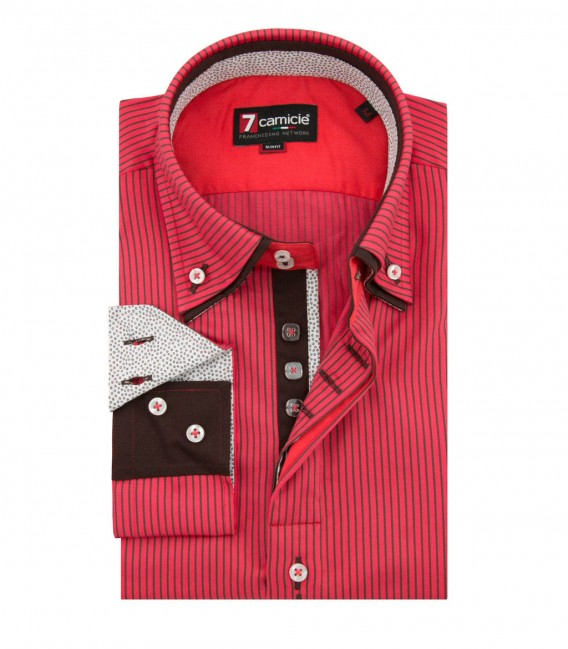 Camicia Marco Polo Satin corallo e marrone
