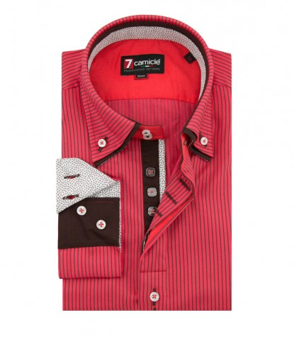 Shirt Marco Polo Satin Coral Brown