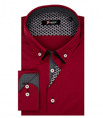 1 Button Button Down Double Collar Man Shirt Popeline Stretch Red