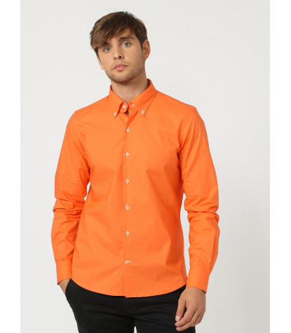 1 button button-down slim man shirt Solid Cotton Light Orange