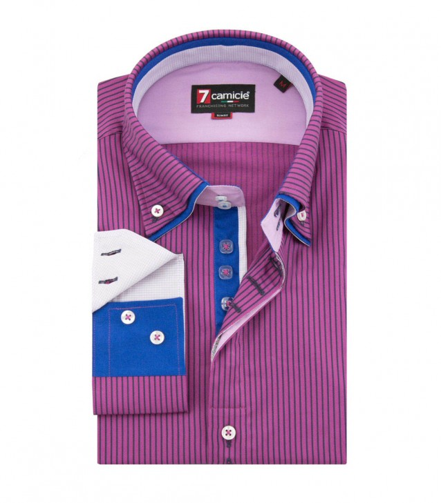 Shirt Marco Polo Satin Violet CyclamenBlue