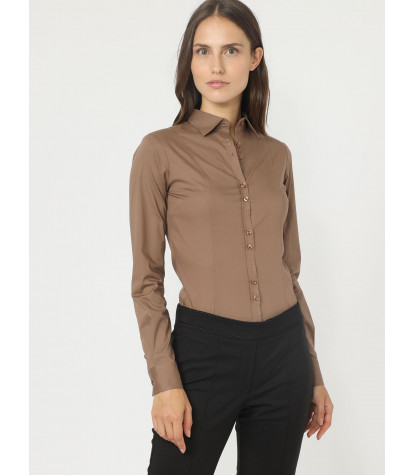 Camicia donna 1 bottone body POPELINE STRETCH UNITO Marrone Tortora