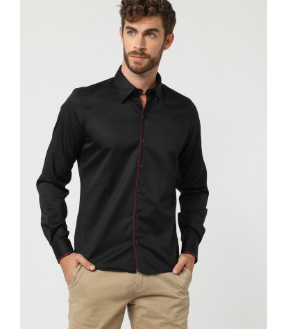 Camicia Uomo 1 Bottone Button-down Satin Unito Nero