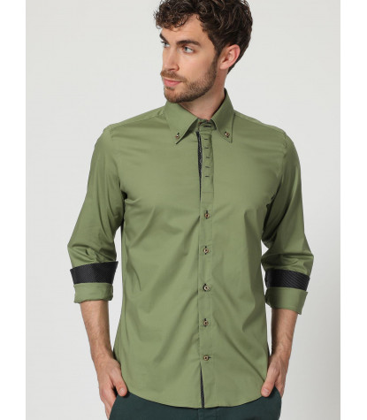 Camicia Uomo 2 Bottoni Button Down Slim POPELINE STRETCH UNITO Verde Militare