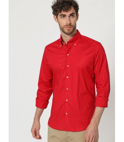 2 buttons button-down slim fit man shirt POPELINE STRETCH Plain Red