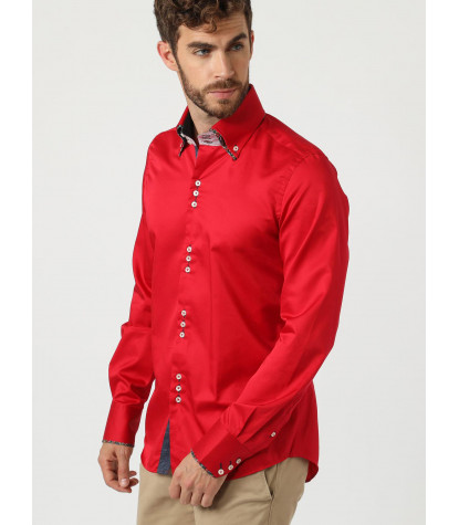 Slim man shirt 3 buttons button down double collar in Satin Plain Red