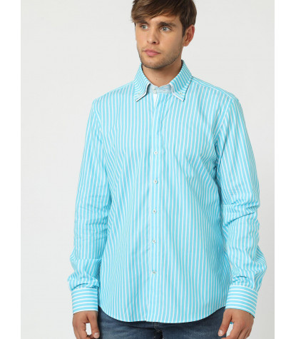 2-button button-down man shirt with double collar Popeline Wide line Light Turquoise and White