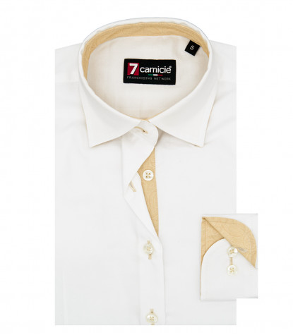 camicia donna 1 bottone collo italiano con toppe Oxford unito Bianco