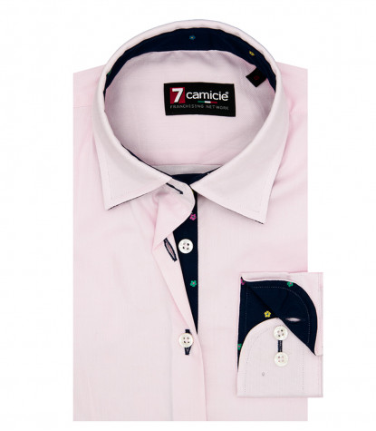Camicia Donna 1 Bottone Collo Italiano con toppe Oxford unito Rosa
