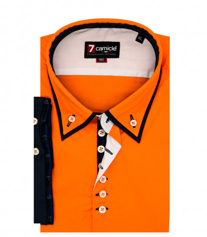camicia uomo 1 bottone button down doppio collo slim POPELINE STRETCH UNITO arancio