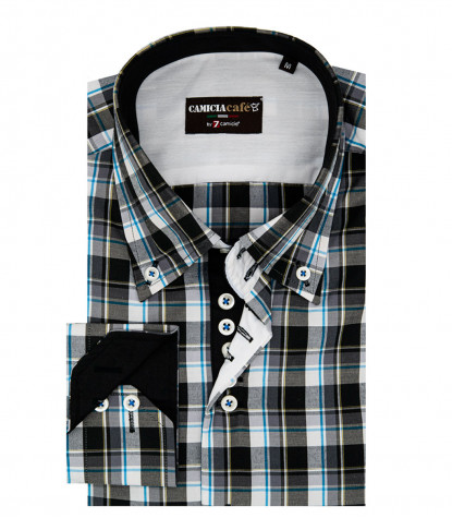 Camicia Uomo 2 Bottoni Button-down 7 Bottoni Slim Cotone Poliestere Quadro Grande Nero/Bianco