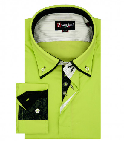 Camicia Uomo 2 Bottoni Button down Doppio Collo POPELINE STRETCH UNITO Verde