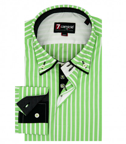 2-button button-down man shirt with double collar Popeline Wide line Green and White