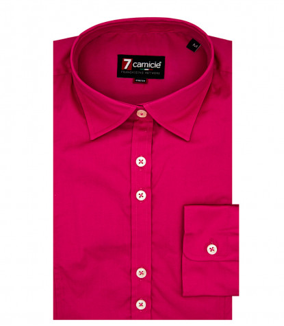 Camicia Donna 1 bottone body POPELINE STRETCH UNITO Fucsia