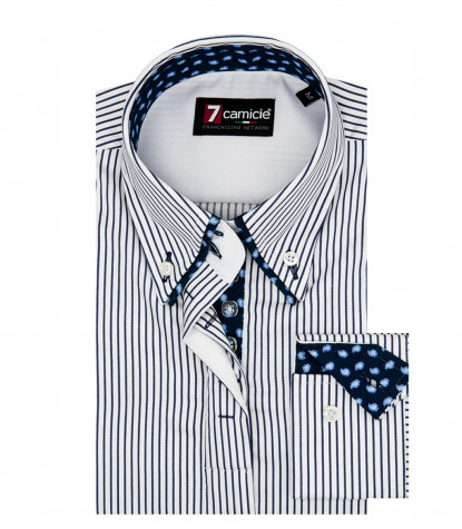 camicia donna 2 bottoni button down slim fit 7 bottoni Satin Riga Stretta Bianco e Blu