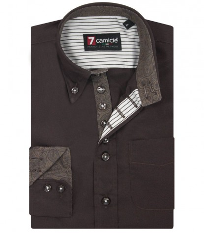 Shirt Francesco poplin Brown