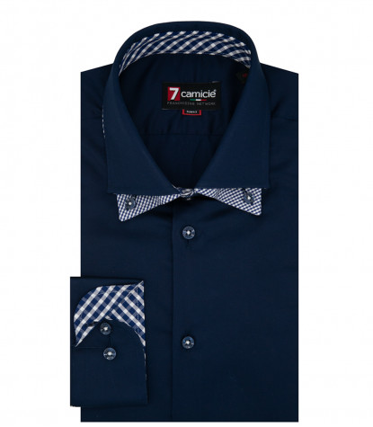 Camicia Uomo 1 Bottone Button Down Doppio Collo Slim Satin Unito Blu