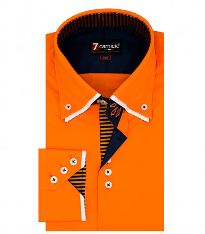 camicia uomo 3 bottoni button down doppio collo slim POPELINE STRETCH UNITO arancio