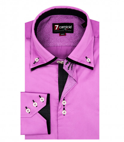 Camicia Uomo 3 Bottoni Button Down Doppio Collo Slim Satin Unito Orchidea