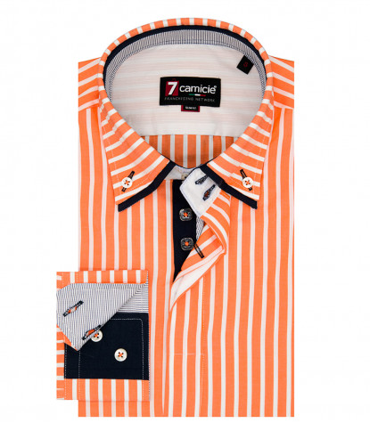 2-button button-down man shirt with double collar Popeline Wide line Orange and White