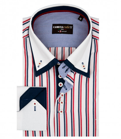 7 Buttons Double Collar Slim Man Shirt Wide Stripe Cotton / Polyester White and Red