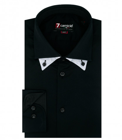 Camicia Uomo 1 Bottone Button Down Doppio Collo Slim Satin Unito Nero